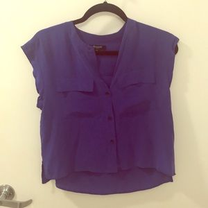 Silk cropped blue button down madewell button down